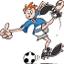 charge de um jogfador de futebol