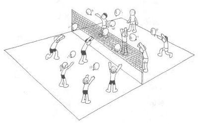 desenho de crianças jogando o voleibol com balalões.
