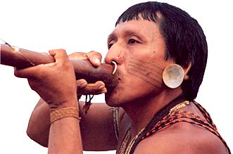 imagem de um índio com uma zarabatana