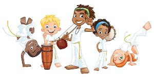 ilustração de crianças lutando capoeira