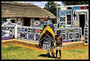 Pintura mural nas casas de tribos sulafricanas.