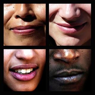 Imagem de bocas de pessoas diferentes representando a variedade l�nguistica dos pa�ses