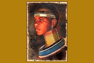 Pintura de uma mulher africana com muitos colares.
